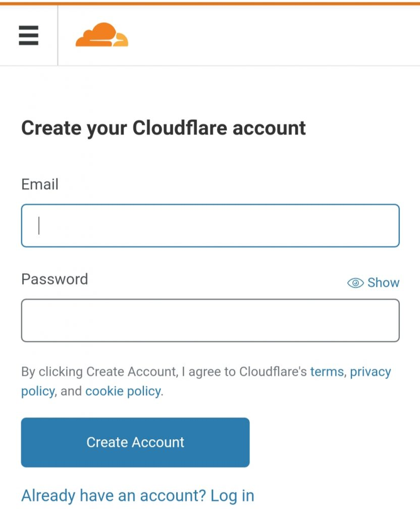 Create your Cloudflare account0A0A